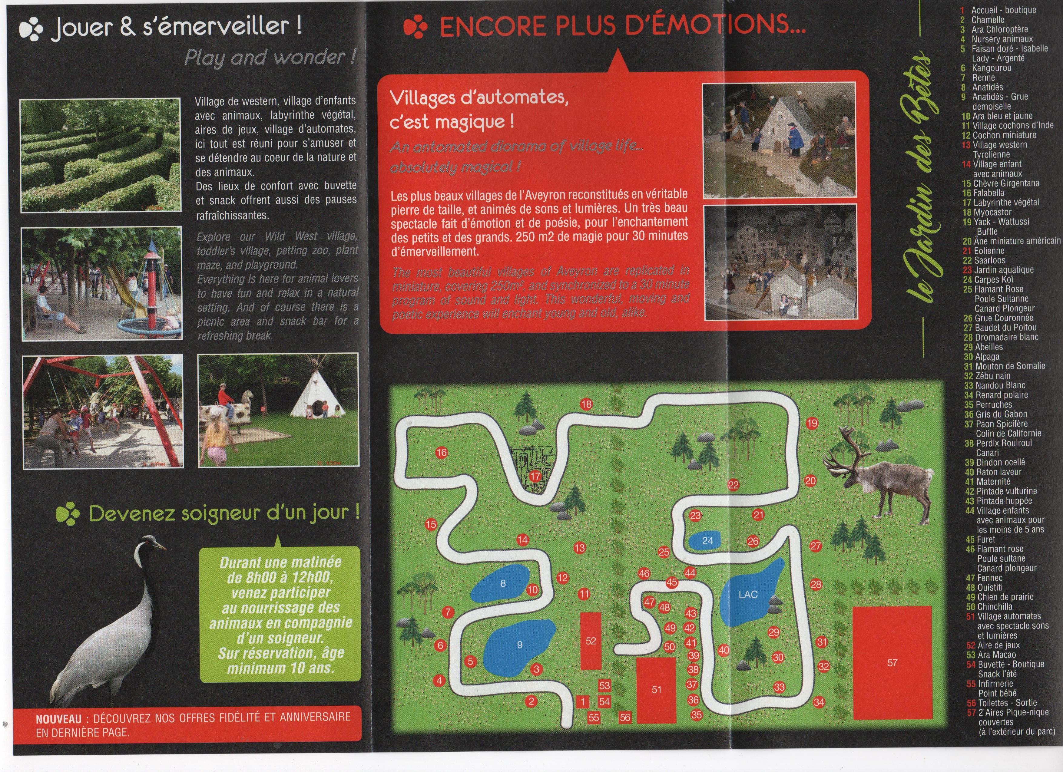 Plan du parc le jardin des b tes for Le jardin des serres d auteuil